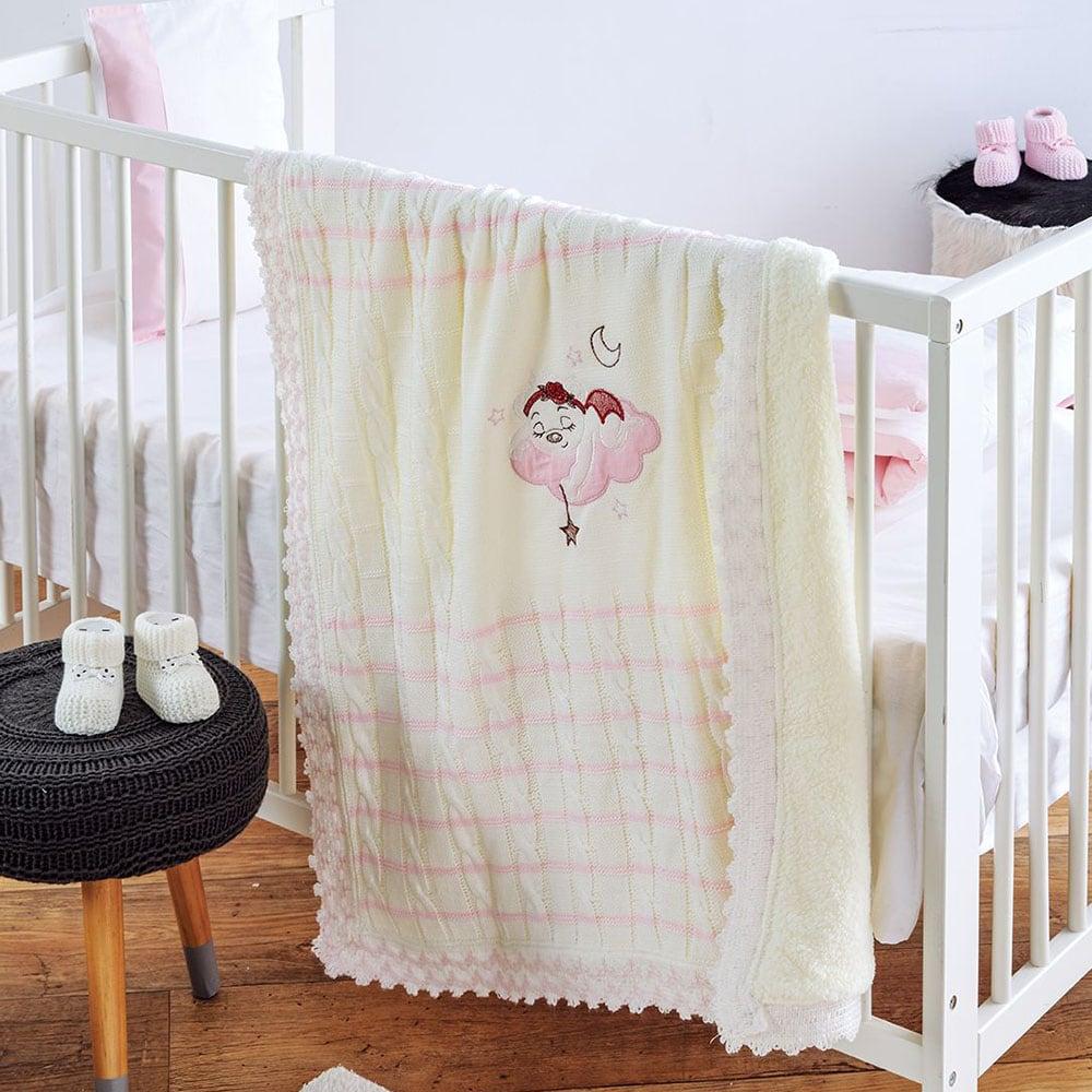 Κουβέρτα Πλεχτή με Γούνα Sleepy Baby Pink Sb Home ΑΓΚΑΛΙΑΣ 90x90cm