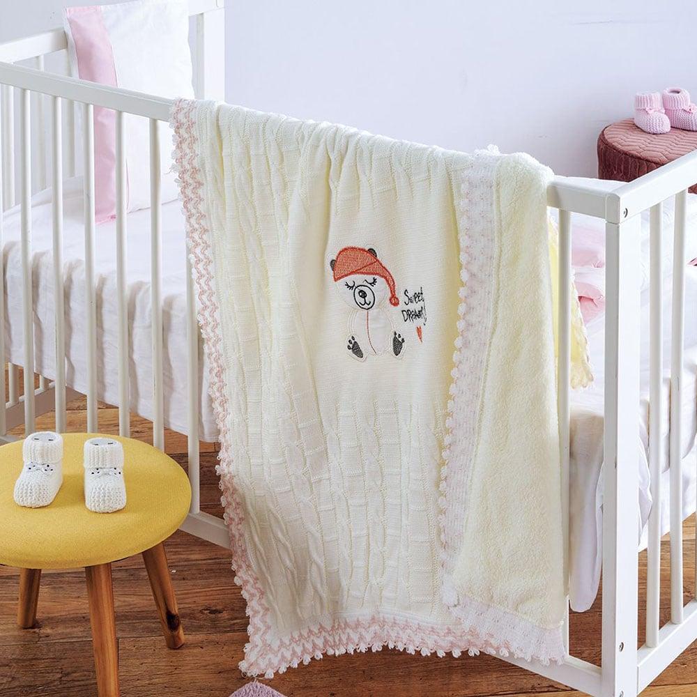 Κουβέρτα Πλεχτή με Γούνα Sweet Dreams Ecru Sb Home ΑΓΚΑΛΙΑΣ 90x90cm