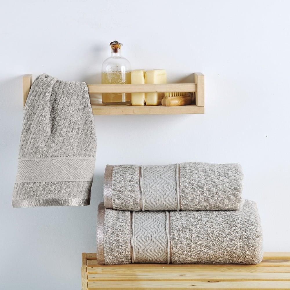 Πετσέτα Flavia Taupe Sb Home Προσώπου 50x90cm