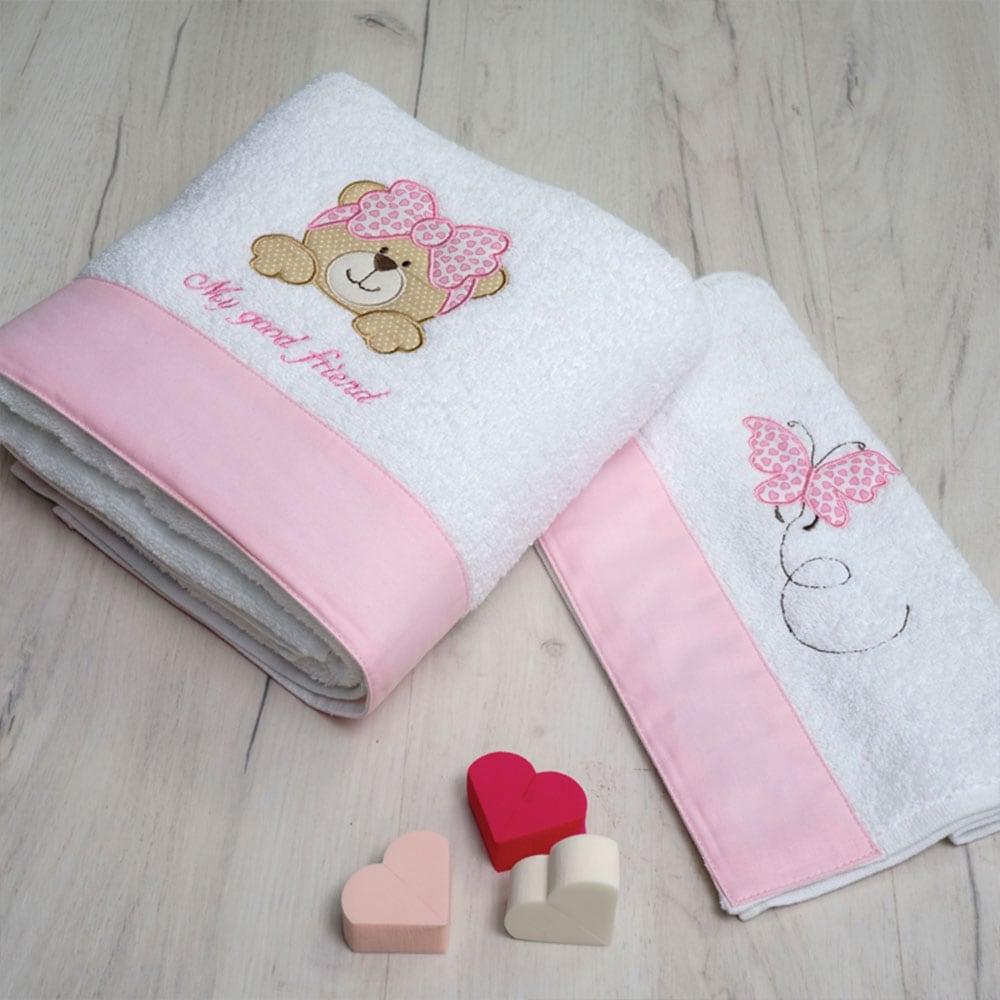 Πετσέτες Σετ Βρεφικές 2 Τεμ. With Embroidery My Good Friend Pink Sb Home Σετ Πετσέτες