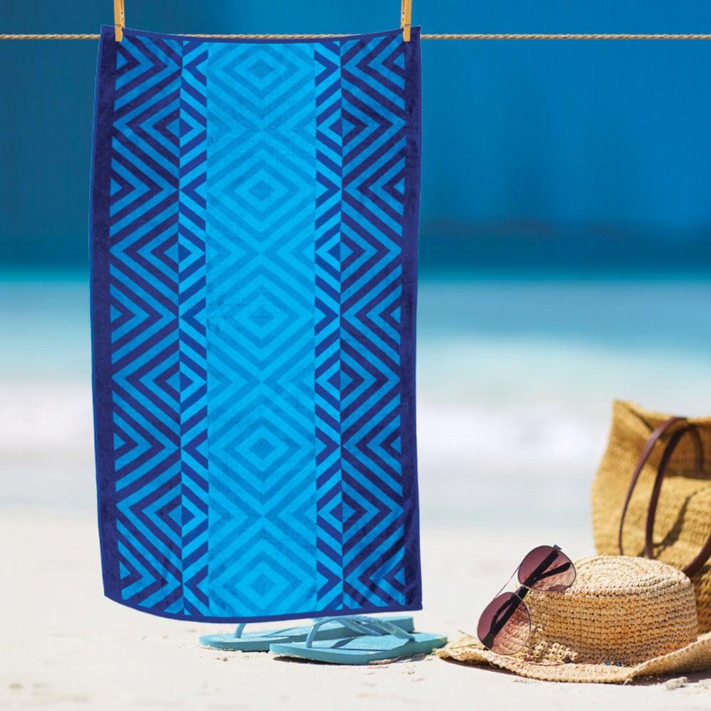 Πετσέτα Θαλάσσης Ζακάρ Blue Νο 1002 Sb Home Θαλάσσης 90x175cm