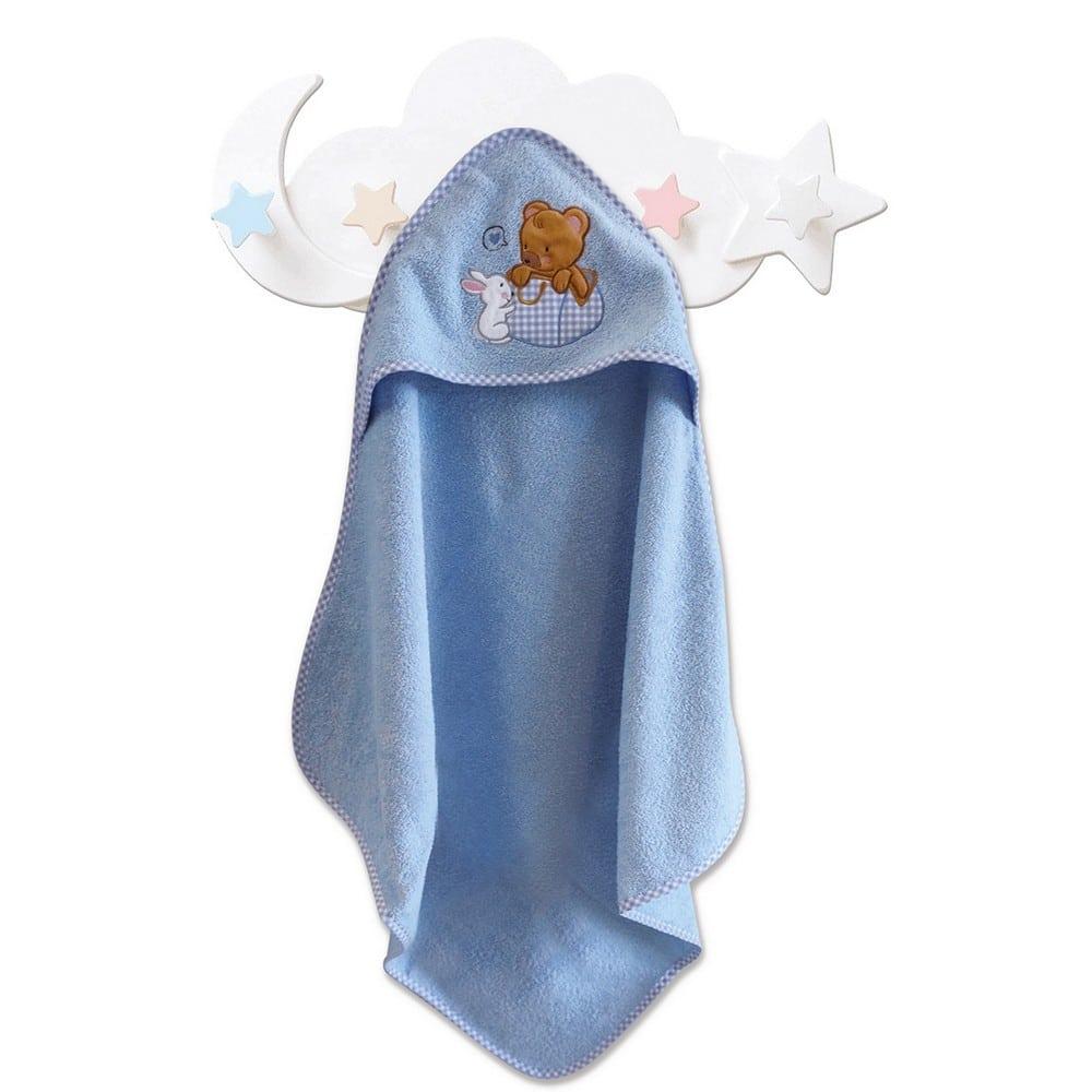 Κάπα Βρεφική Με Κουκούλα Bear Boy Blue Sb Home 0-2 ετών 75x75cm