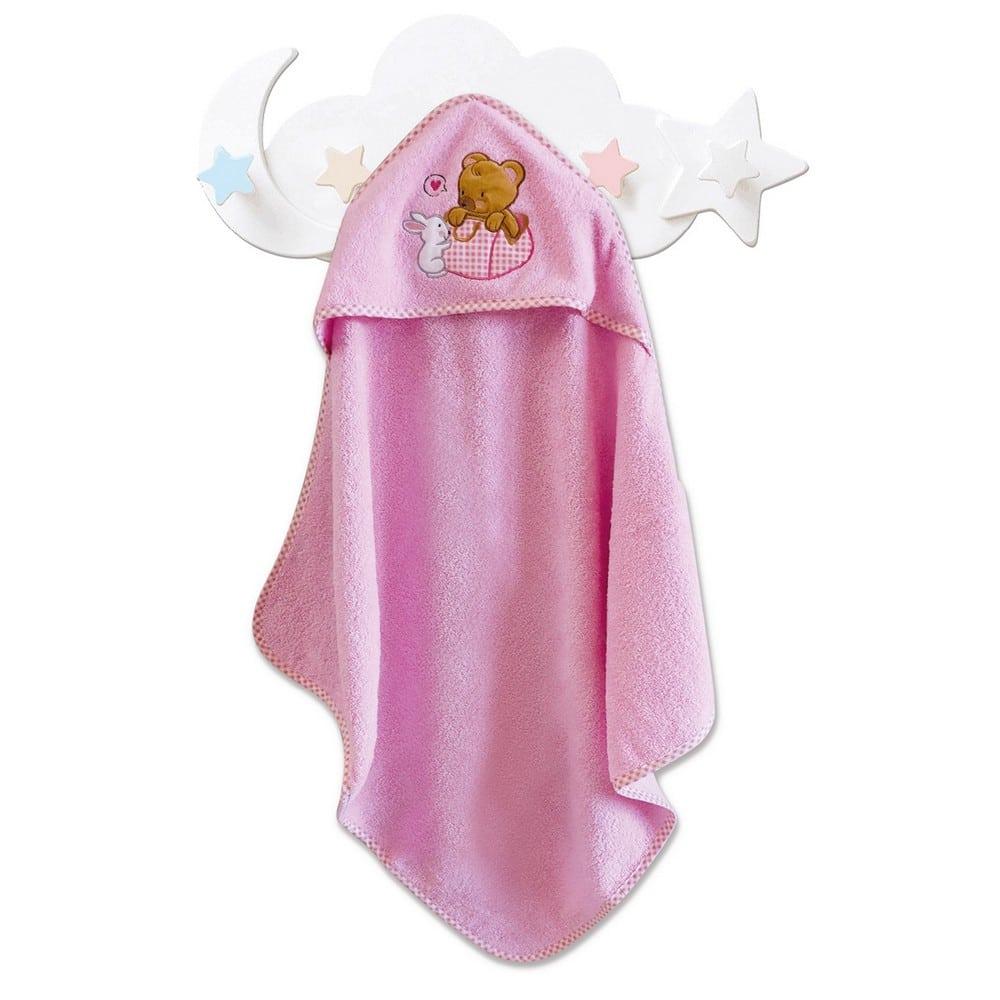 Κάπα Βρεφική Με Κουκούλα Bear Girl Pink Sb Home 0-2 ετών 75x75cm