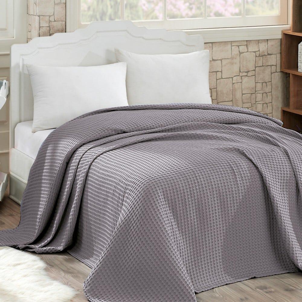 Κουβέρτα Πικέ Waffle Grey Sb Home King Size 240x260cm