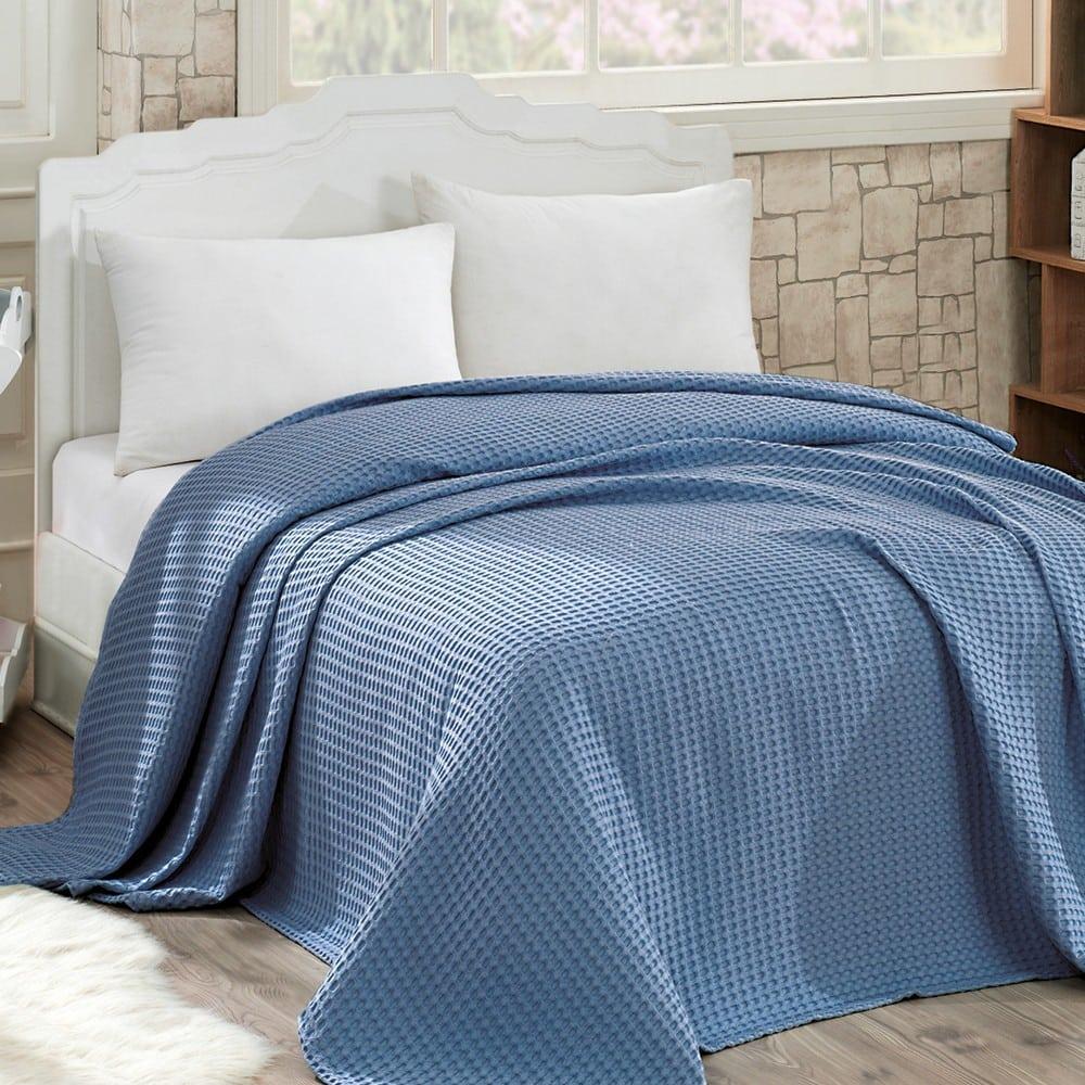 Κουβέρτα Πικέ Waffle Blue Sb Home Υπέρδιπλo 230x240cm