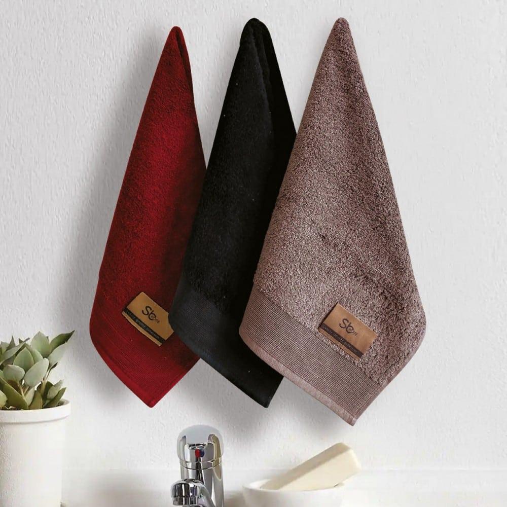 Πετσέτες Elegante Σετ 3τμχ No 1 Black-Red Sb Home Σετ Πετσέτες 40x60cm
