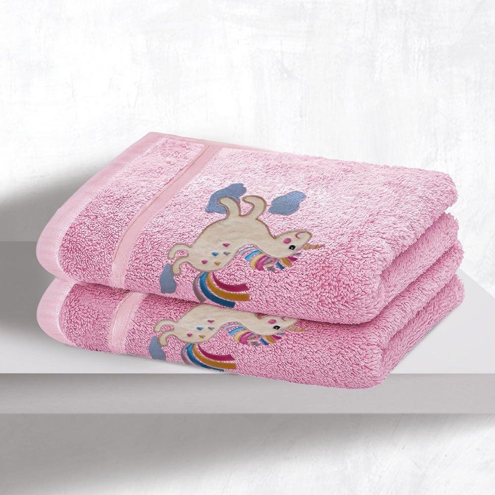 Πετσέτες Βρεφικές Με Κέντημα Σετ 2τμχ Baby Horse Pink Sb Home Σετ Πετσέτες 70x130cm