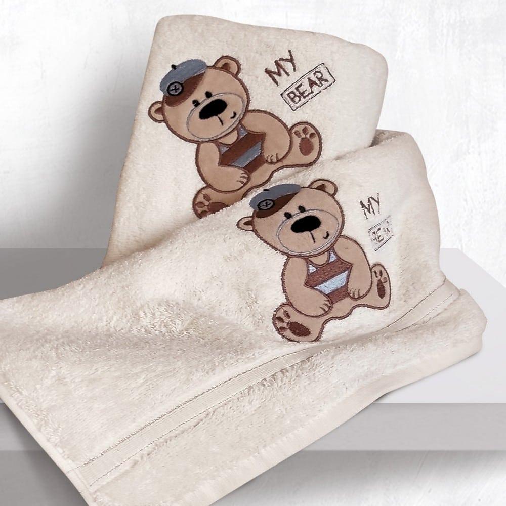 Πετσέτες Βρεφικές Με Κέντημα Σετ 2τμχ Bayle Ecru Sb Home Σετ Πετσέτες 70x130cm