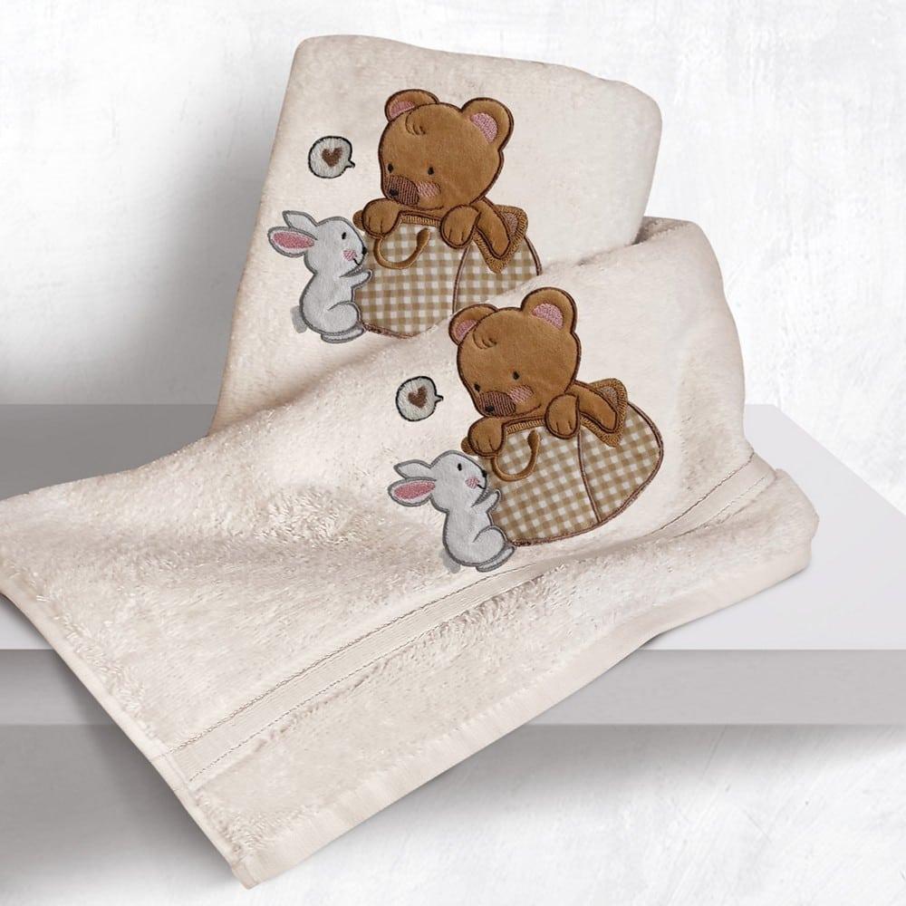 Πετσέτες Βρεφικές Με Κέντημα Σετ 2τμχ Bear Ecru Sb Home Σετ Πετσέτες 70x130cm
