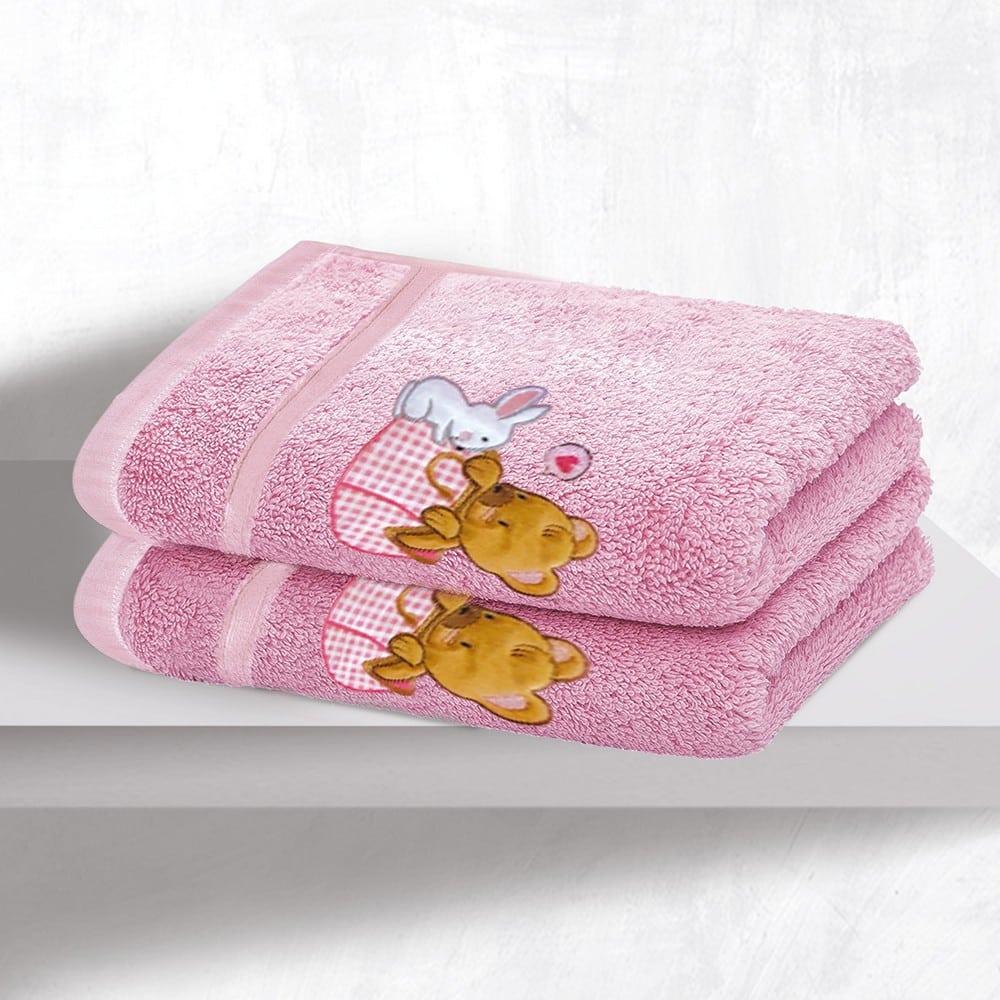 Πετσέτες Βρεφικές Με Κέντημα Σετ 2τμχ Bear Girl Pink Sb Home Σετ Πετσέτες 70x130cm