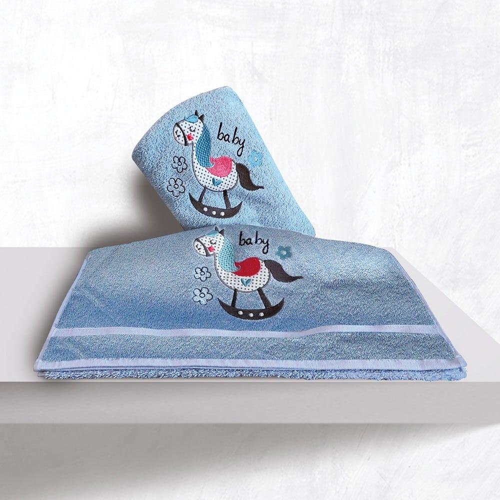 Πετσέτες Βρεφικές Με Κέντημα Σετ 2τμχ Rocket Blue Sb Home Σετ Πετσέτες 70x130cm