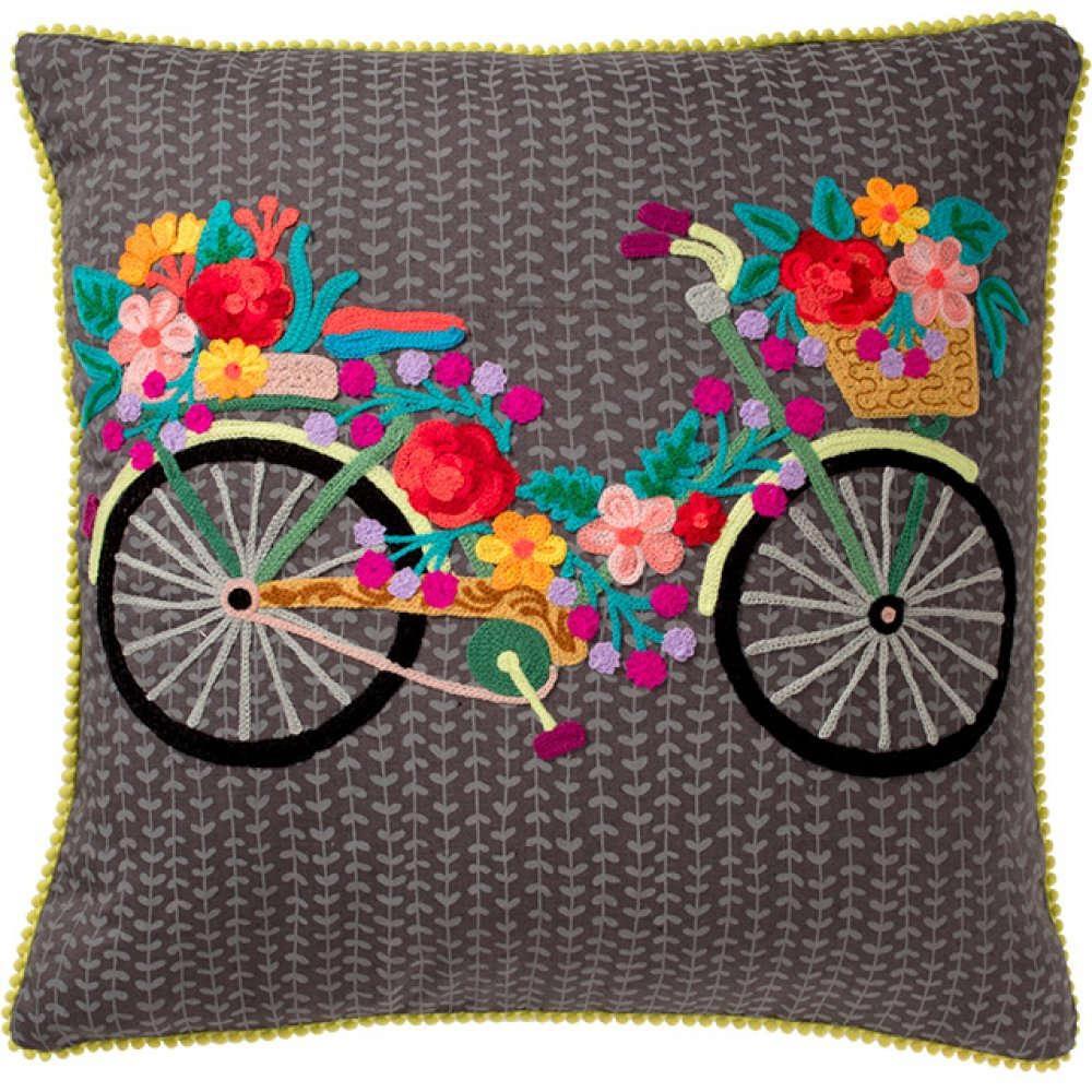 Μαξιλάρι Διακοσμητικό (Με Γέμιση) Ποδήλατο NACC604 Γκρι 45X45 100% Βαμβάκι