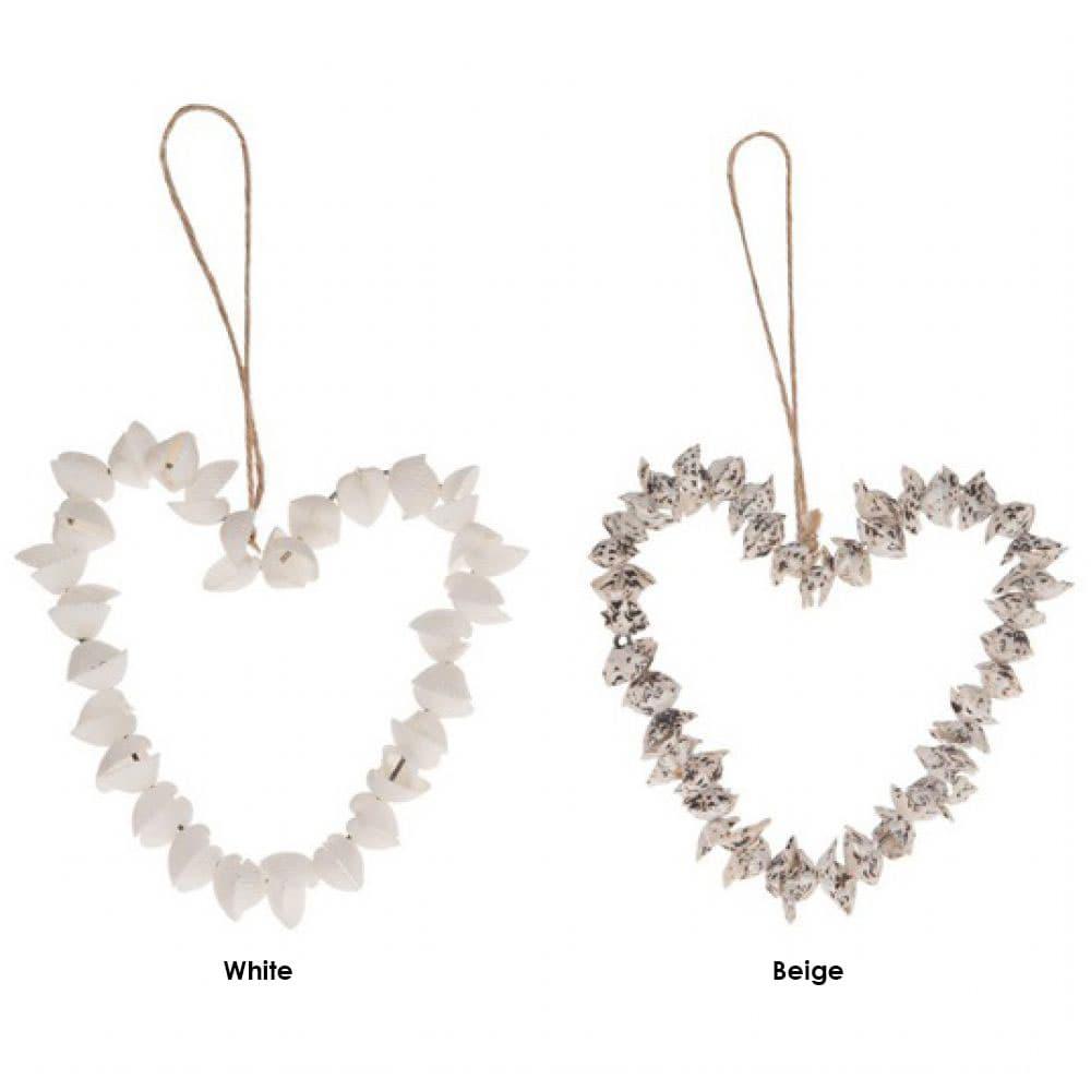 Διακοσμητική Καρδιά Από Κοχύλια 28539-017 White Σχοινί