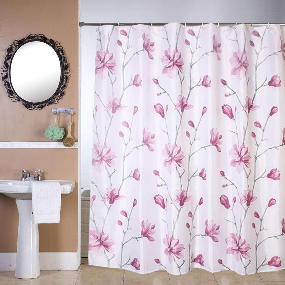 Κουρτίνα Μπάνιου Καμέλια White-Pink Viopros Φάρδος 180cm 180x180cm