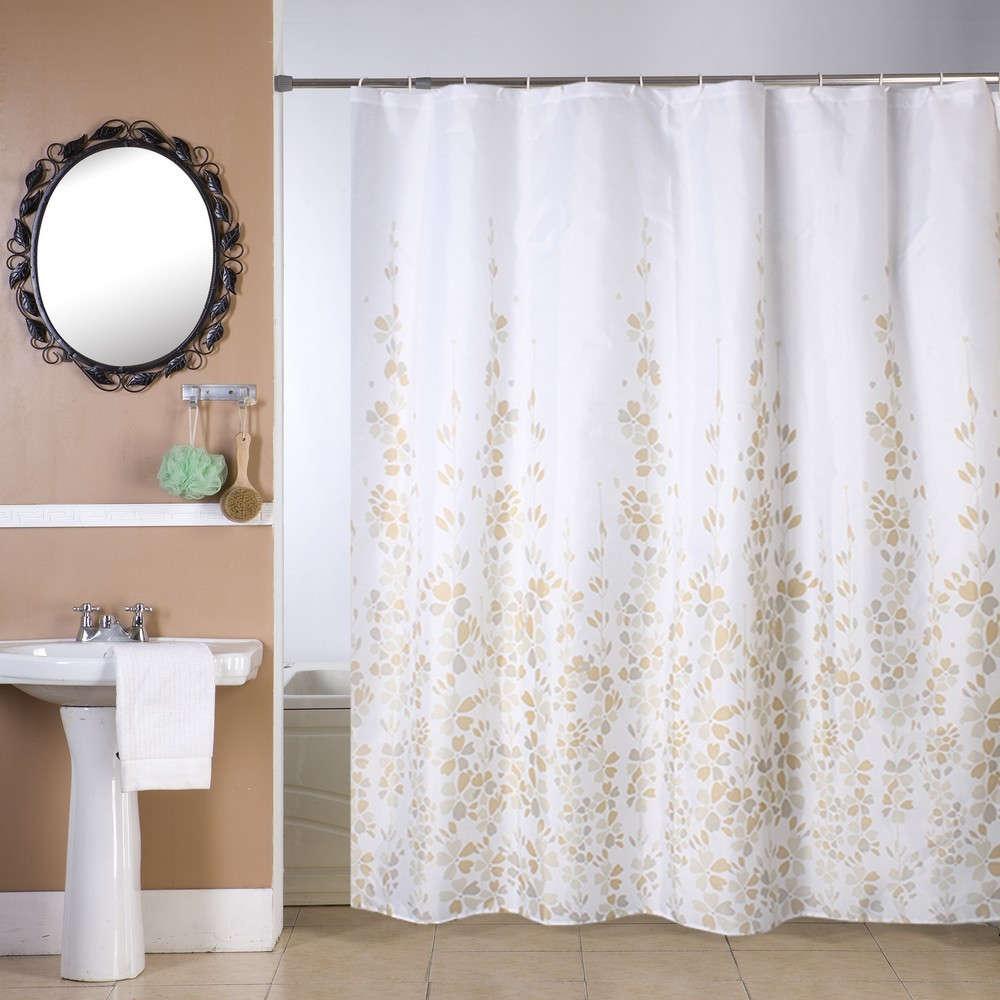 Κουρτίνα Μπάνιου Σύνθια White-Beige Viopros Φάρδος 180cm 180x180cm