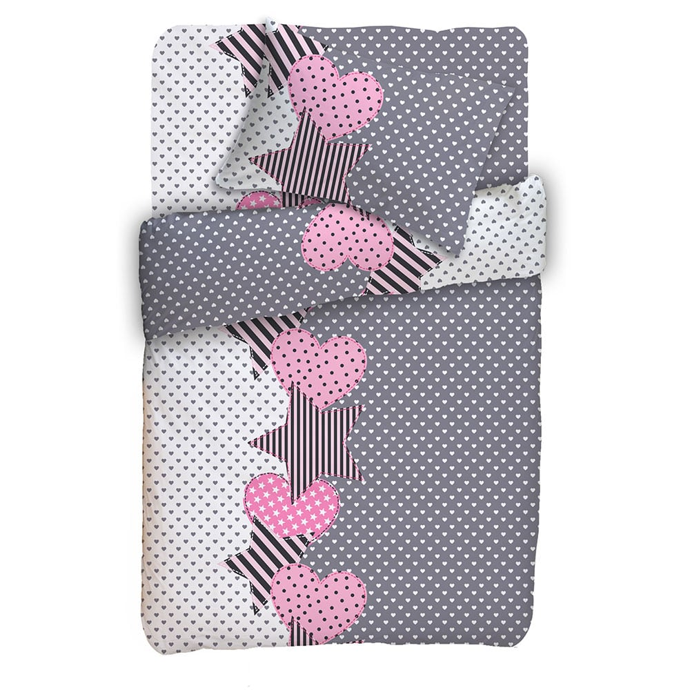 Κουβερλί Παιδικό Σετ 2τμχ. Έρικα Grey-Pink Viopros Ημίδιπλο 180x240cm