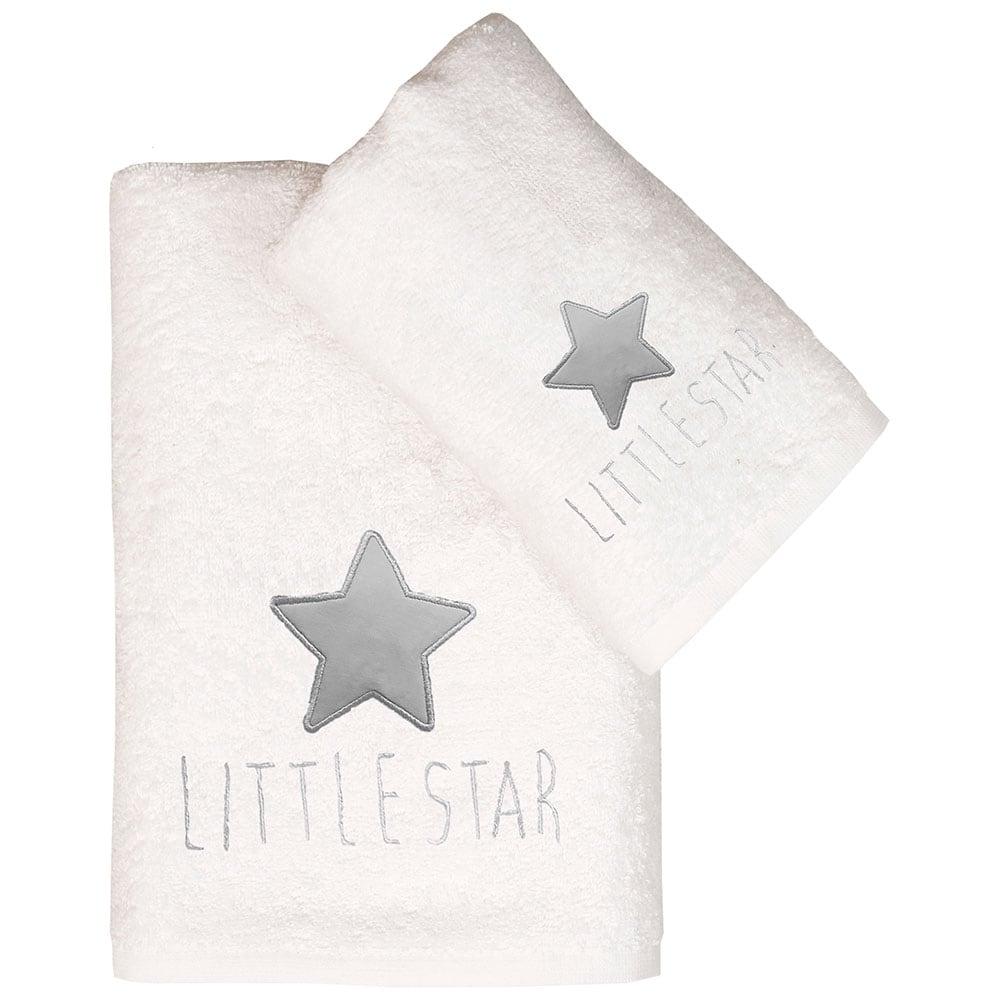 Πετσέτες Παιδικές Σετ 2τμχ Τζάσπερ White-Grey Viopros Σετ Πετσέτες