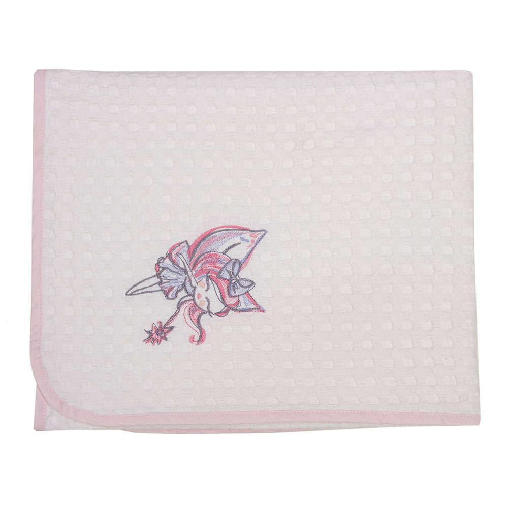 Κουβέρτα Βρεφική Πικέ Des. Felicia White-Pink Anna Riska Κούνιας 110x150cm