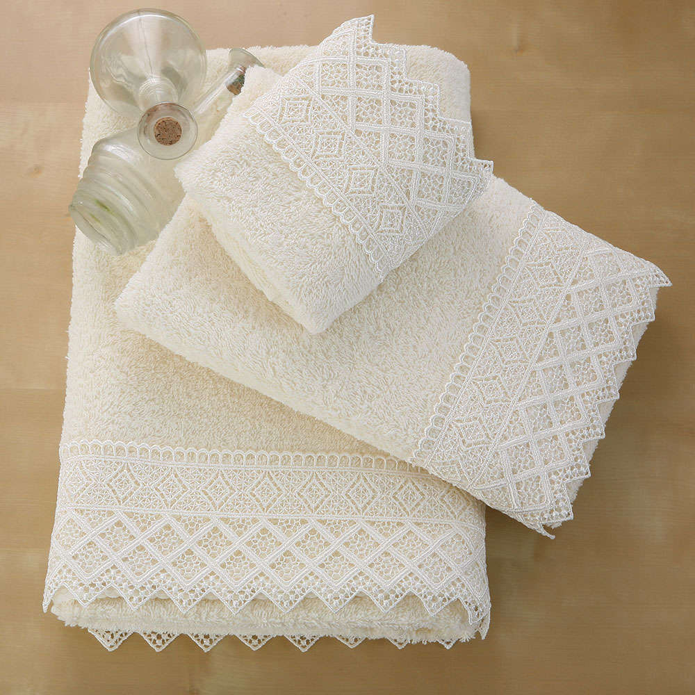 Πετσέτες Σετ 3Τμχ Lace Towels Σχ. 3 Ecru Viopros Σετ Πετσέτες 70x140cm