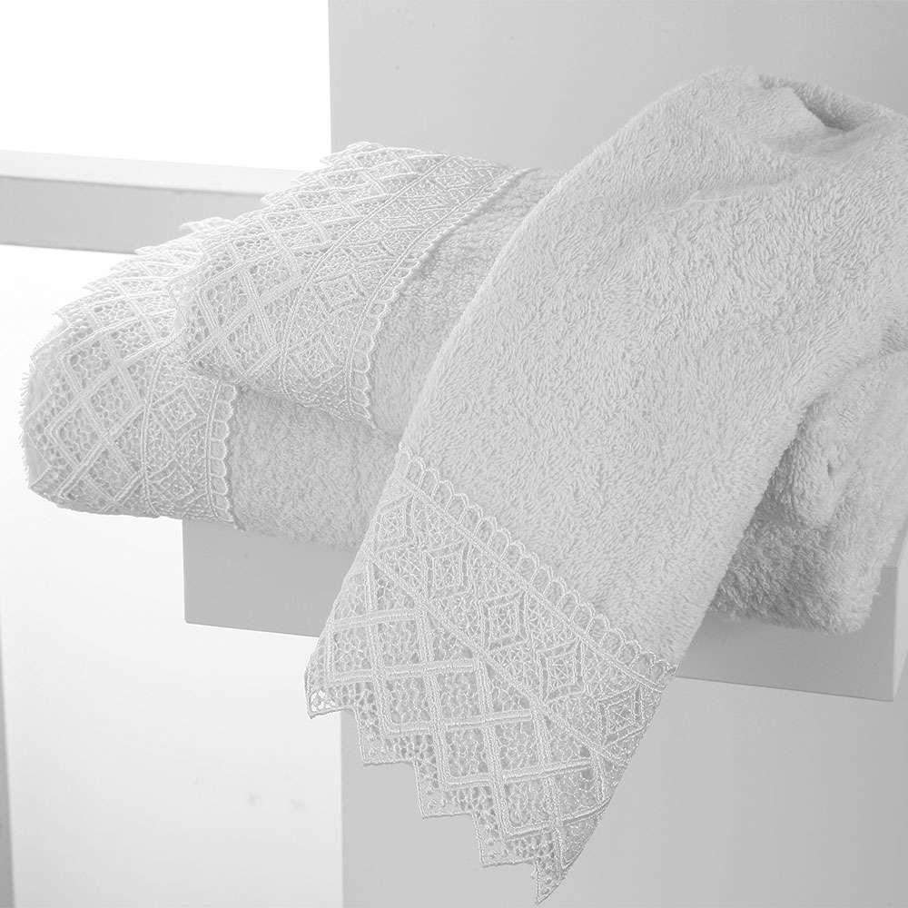 Πετσέτες Σετ 2Τμχ Lace Towels Σχ. 3 White Viopros Σετ Πετσέτες 50x100cm