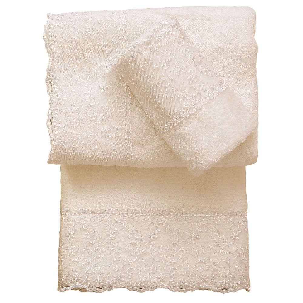 Πετσέτα Προσώπου Lace Towels Σχ. 1 Ecru Viopros Προσώπου 50x100cm