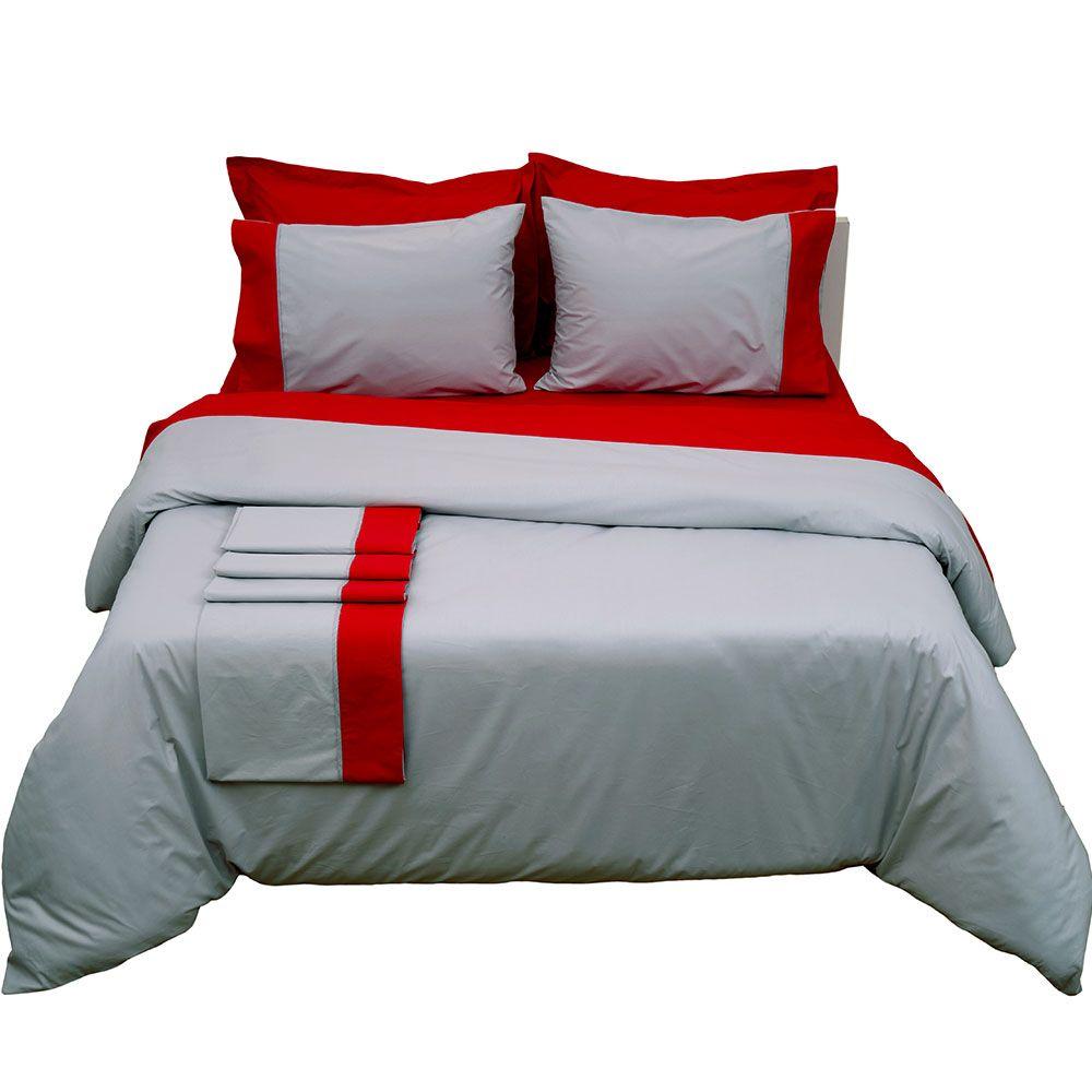 Κουβερλί Δύο Όψεων Supreme Collection Grey-Red Viopros Υπέρδιπλo 220x240cm