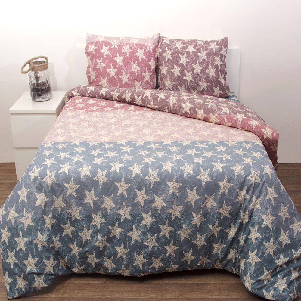 Κουβερλί Σχ. Τζόρνταν Σετ 3τμχ Pink-Blue Viopros Υπέρδιπλo 220x240cm