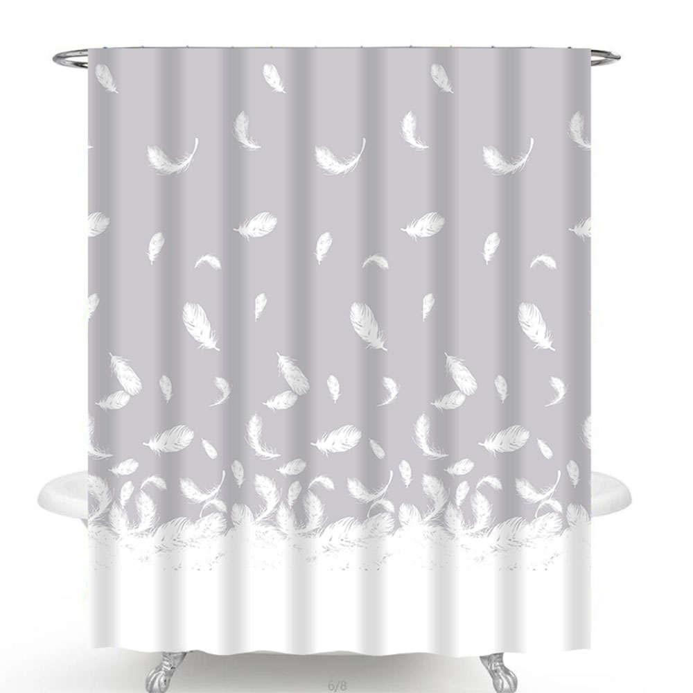 Κουρτίνα Μπάνιου Des. 501 White-Purple Anna Riska Φάρδος 180cm