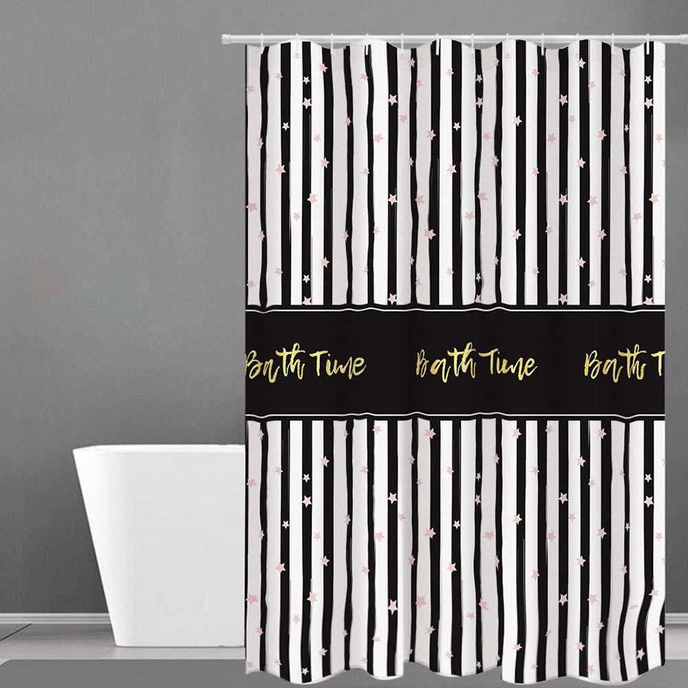 Κουρτίνα Μπάνιου Des. 503 Black-White Anna Riska Φάρδος 180cm