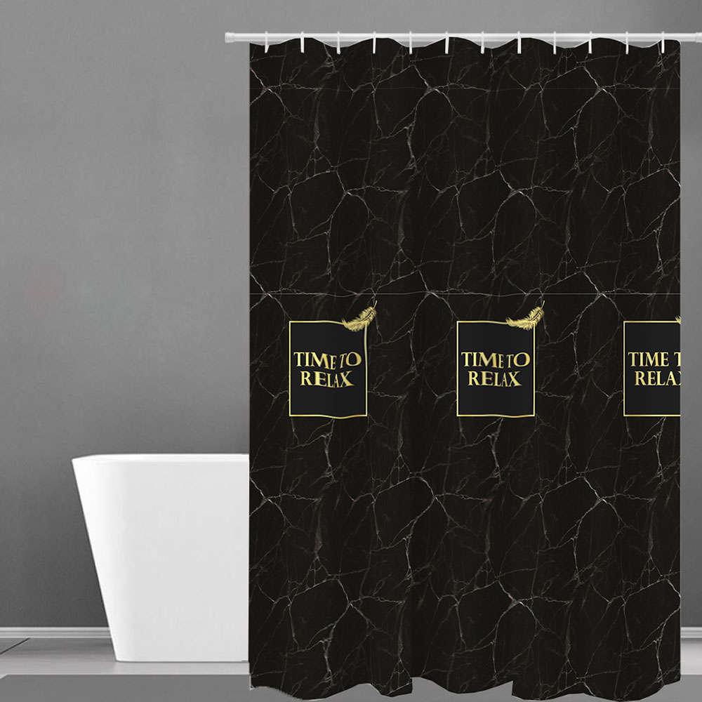 Κουρτίνα Μπάνιου Des. 504 Black-Gold Anna Riska Φάρδος 180cm