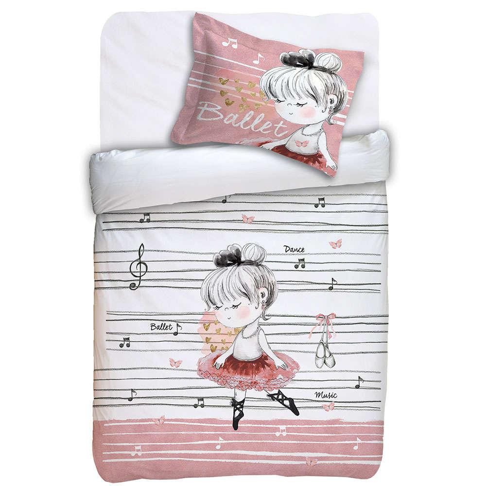 Μαξιλαροθήκη Παιδική Oxford Des. Ballet White-Pink Anna Riska 30Χ40