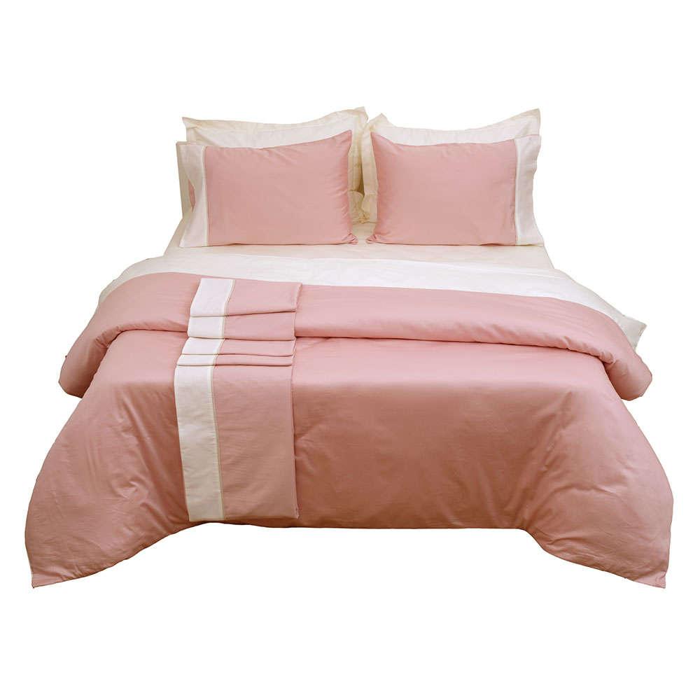 Σεντόνι Σετ 4Τμχ Με Φάσα Luxury Bicolour 4 Blush Pink/Ivory Anna Riska Υπέρδιπλo 240x270cm
