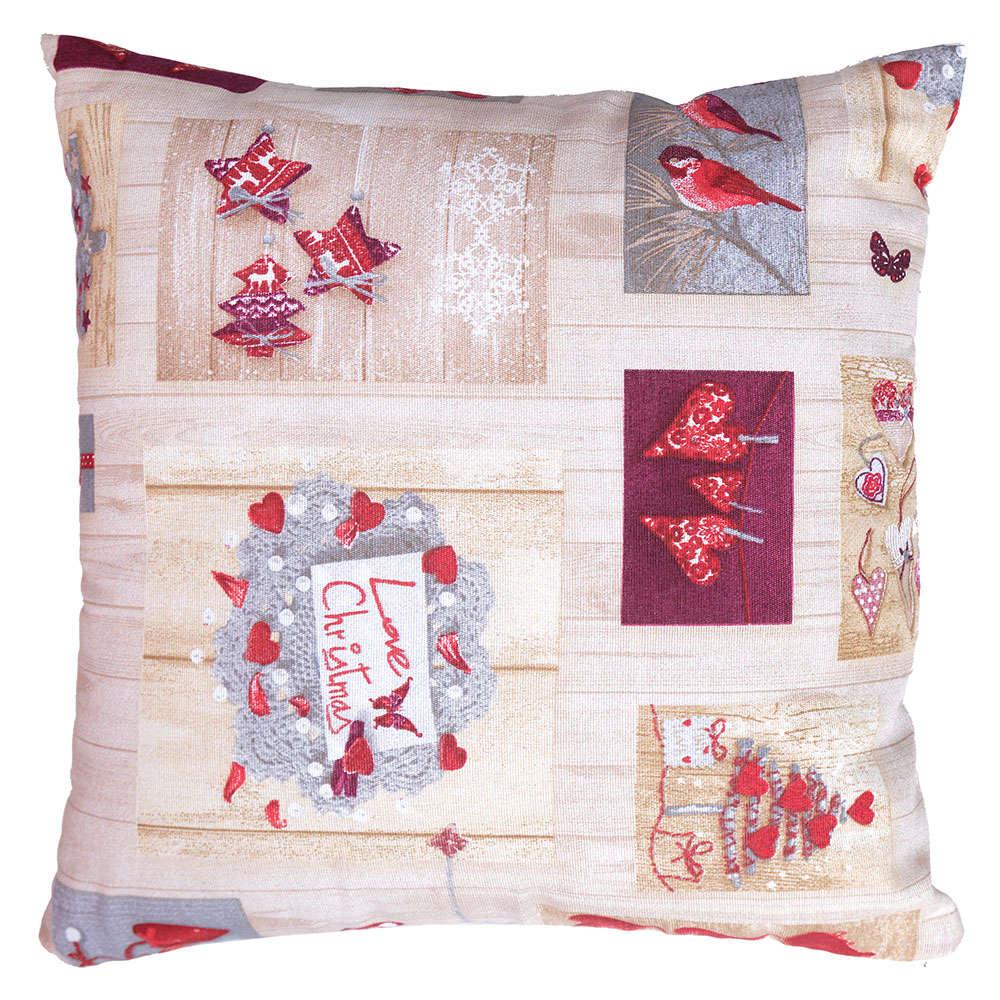 Μαξιλάρι Διακοσμητικό Χριστουγεννιάτικο (Με Γέμιση) Σχ 4445 Ecru-Red Viopros 45X45