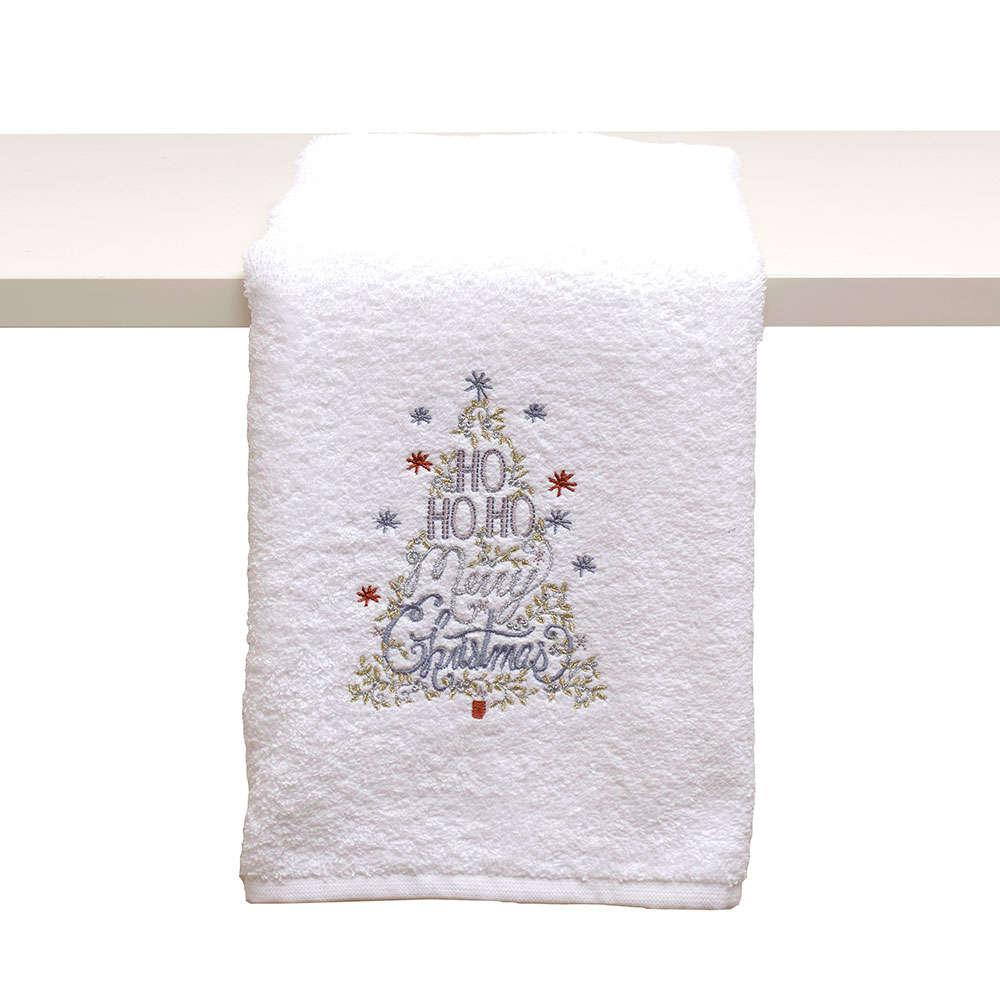Πετσέτα Χριστουγεννιάτικη Απλικέ Σε Κουτί Δώρου 2315 White Viopros Προσώπου