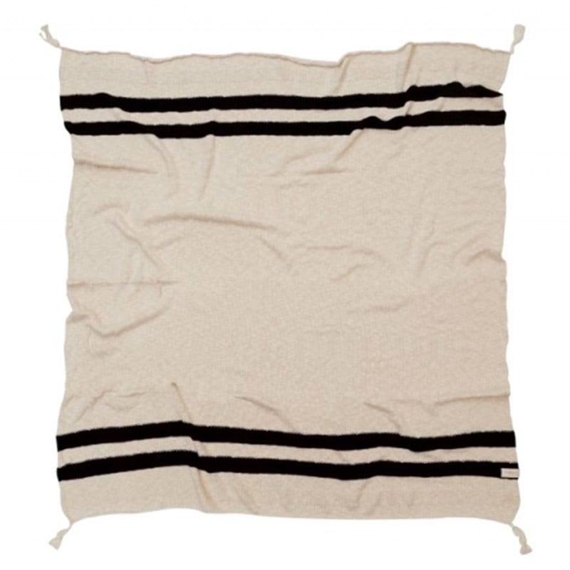 Κουβέρτα Καναπέ Βαμβακερή Stripes LΟR-ΒLC-SΤRΙΡΕ-ΒLΑCΚ Natural-Black Lorena Canals 100X150 100x150cm