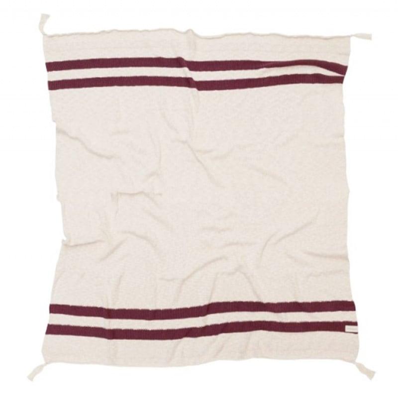 Κουβέρτα Καναπέ Βαμβακερή Stripes LΟR-ΒLC-SΤRΙΡΕ-ΒURG Natural-Burgundy Lorena Canals 100X150 100x150cm