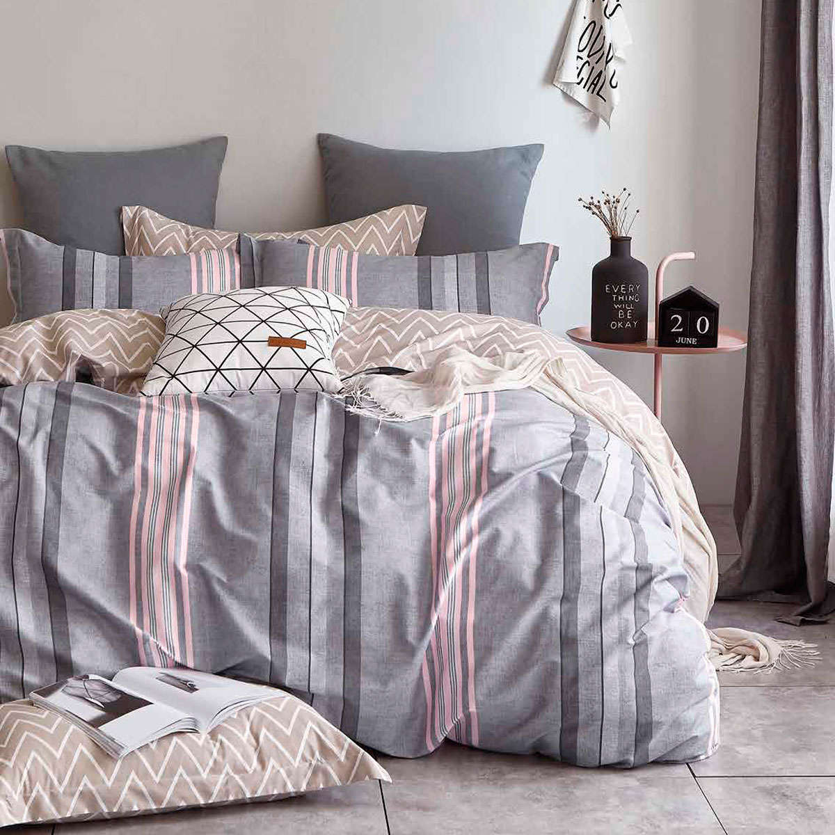 Κουβερλί Σετ 3τμχ 1250 Grey – Pink Homeline Διπλό 220x240cm