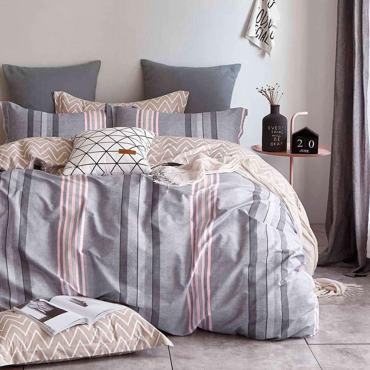 Σεντόνια Σετ 4τμχ 1250 Grey – Pink Homeline Διπλό 230x260cm