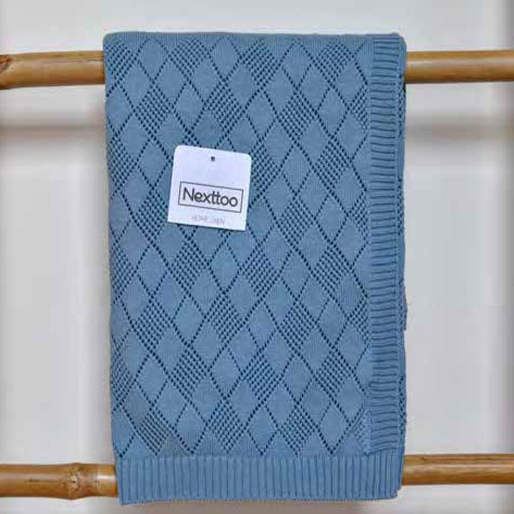 Κουβέρτα Βρεφική Πλεκτή 3092 Waves Blue Nexttoo Αγκαλιάς 70x90cm