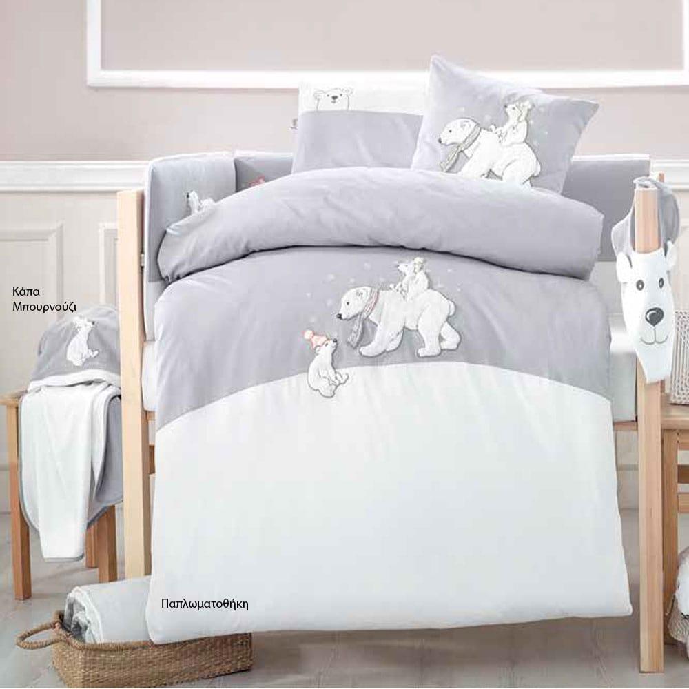Παπλωματοθήκη Βρεφική Σετ 2τμχ 3067 White Bears Grey Sydney Baby 100x135cm