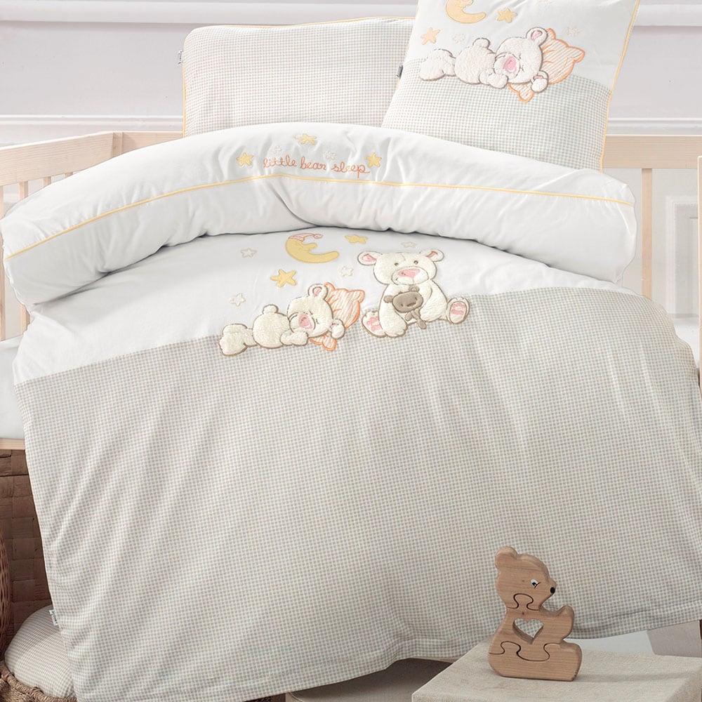 Πάπλωματοθήκη Σετ 2τμχ Βρεφικό Little Bear 3064 & Beige White Sydney Baby 100x135cm
