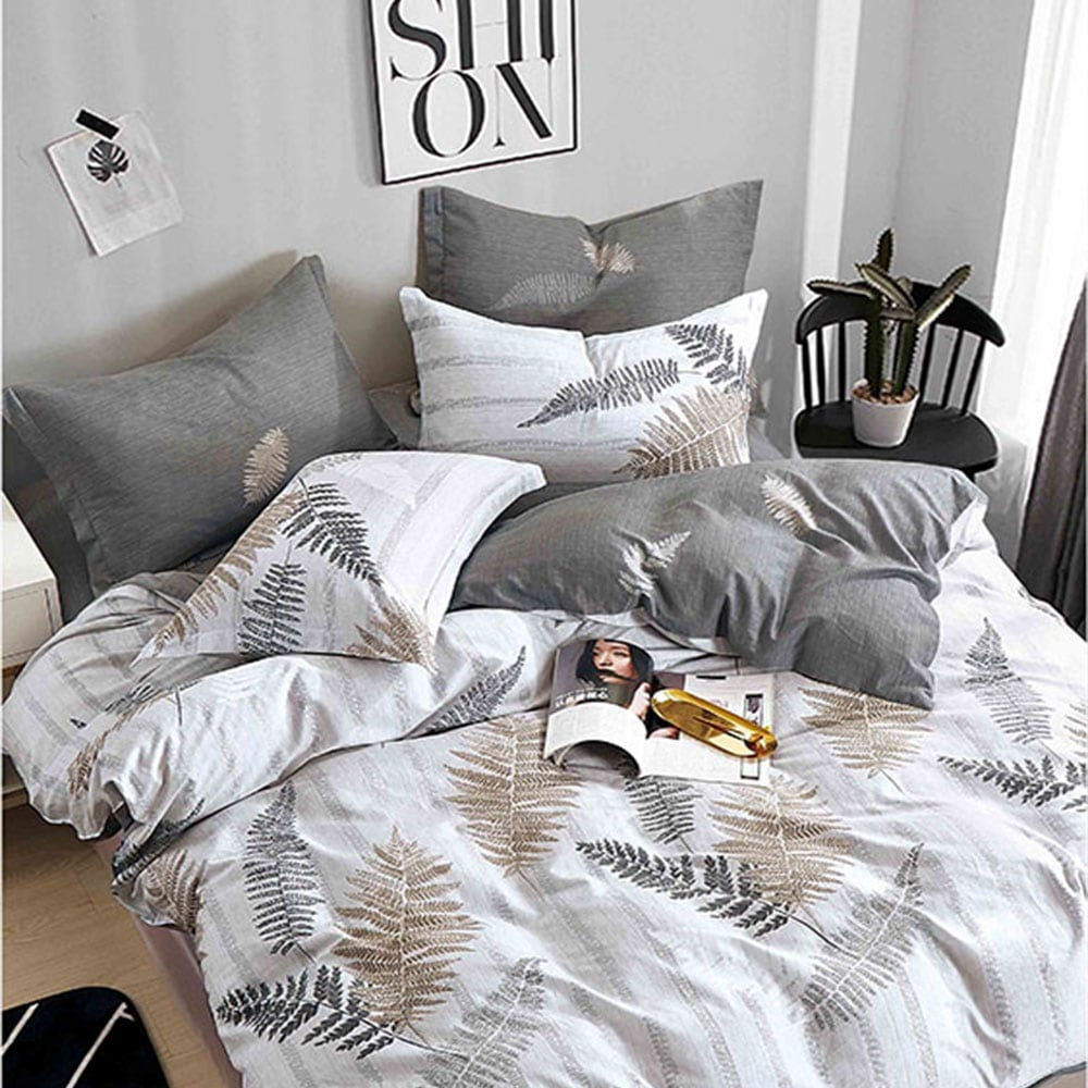 Κουβερλί Σετ 3τμχ 1297 Grey – White Homeline Υπέρδιπλo 225x240cm