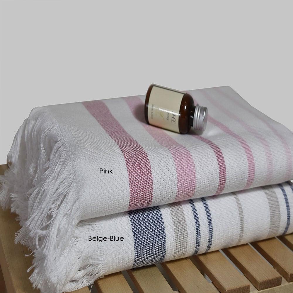 Πετσέτα 890 Pestemal Beige-Blue Homeline Σώματος 70x150cm