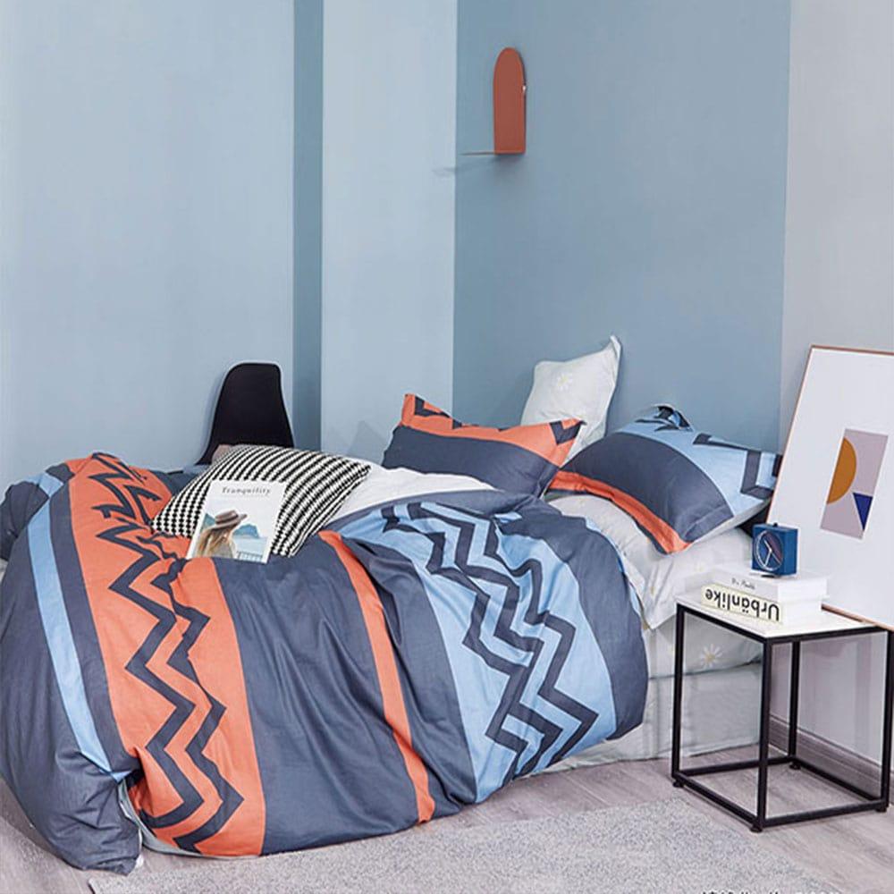 Σεντόνια Σετ 3τμχ 1310 Blue – Orange Homeline Μονό 170x260cm
