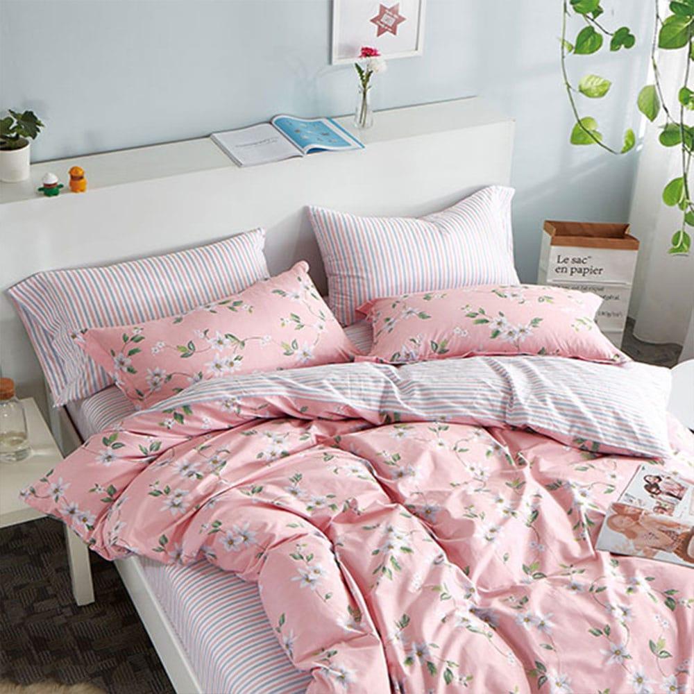 Σεντόνια Σετ 4τμχ 1228 Pink Homeline Υπέρδιπλo 230x260cm
