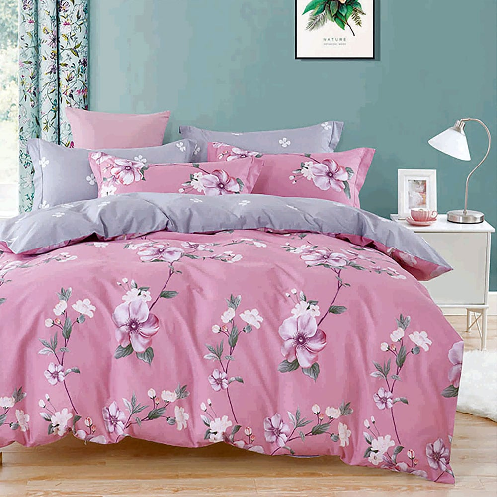 Σεντόνια Σετ 4τμχ 1232 Pink-Grey Homeline Υπέρδιπλo 230x260cm