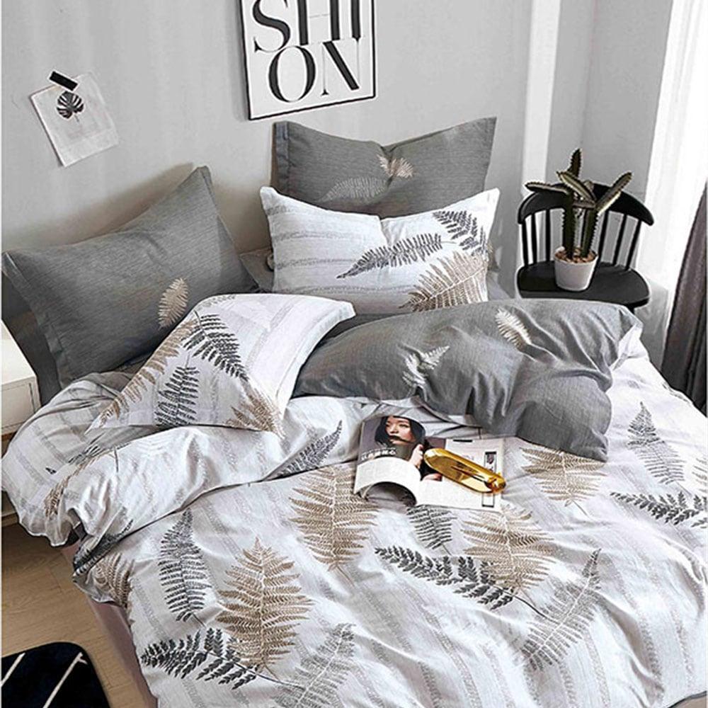 Σεντόνια Σετ 4τμχ 1297 Grey – White Homeline Υπέρδιπλo 230x260cm
