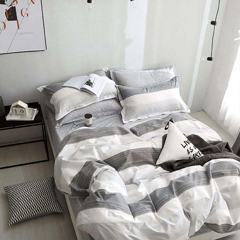 Σεντόνια Σετ 4τμχ 1306 Grey – White Homeline Υπέρδιπλo 230x260cm