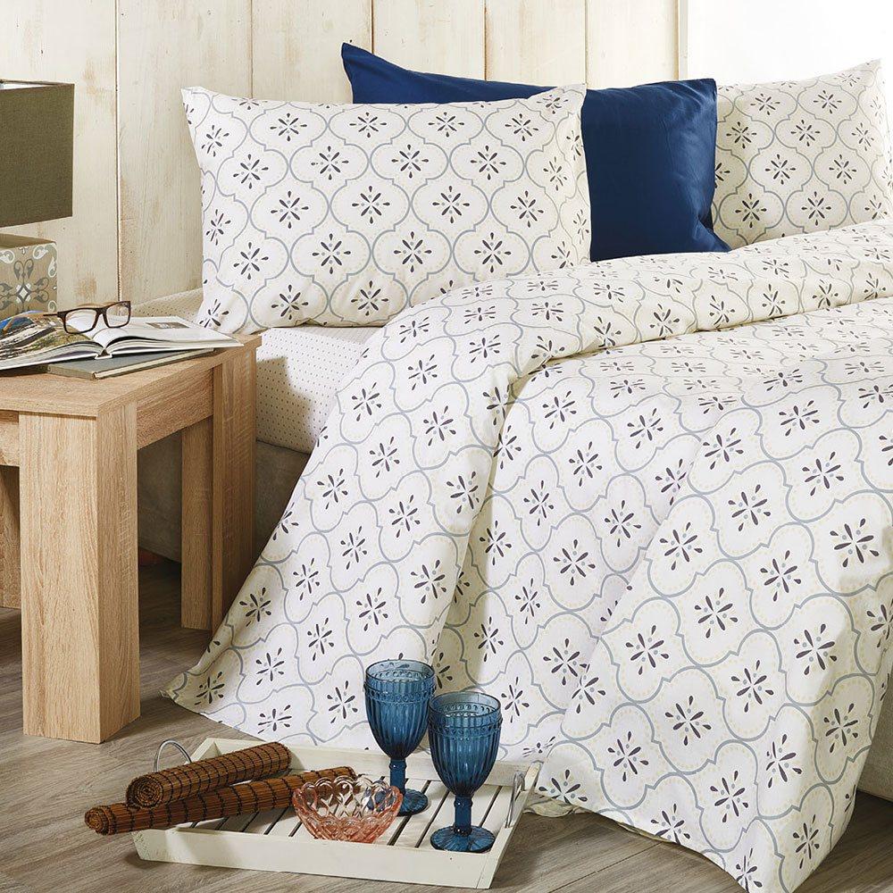 Σεντόνια Σετ 4τμχ Romance R007 No.2 Με Λάστιχο Blue Whitegg King Size 240x270cm