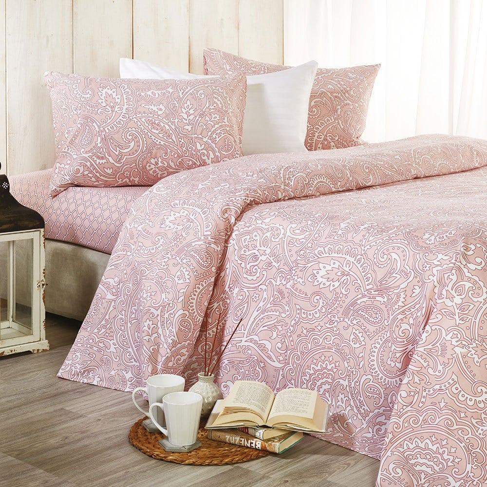 Σεντόνια Σετ 4τμχ Basic B001 No.1 Με Λάστιχο Pink Whitegg King Size 160x230cm